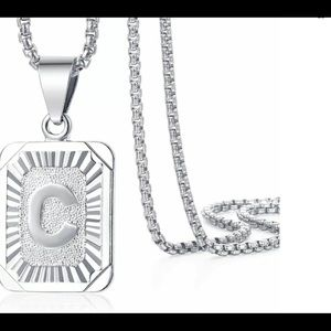 """White Gold Filled Letter C Pendant 20"""" Necklace"""